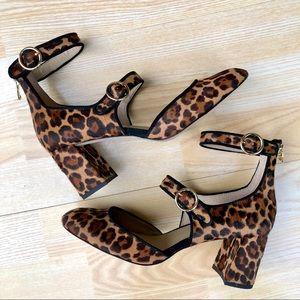 ✨NEW✨ Ann Taylor Leopard Fur Ankle Strap Pump